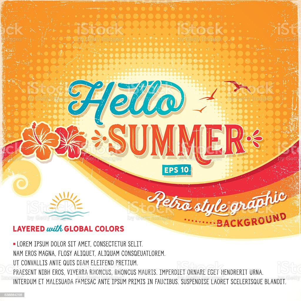 Retro Summer Background vector art illustration
