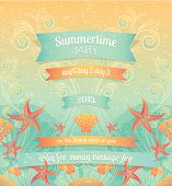 Vintage Summer Beach Party background, layered and groupped, 300dpi 24x26cm rgb jpg included. Eps 10, transparency used. Cmyk Vector. More:
