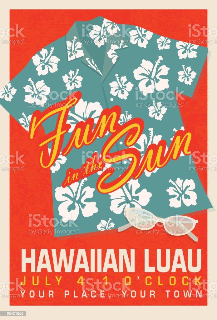 Retro summer blue hawaiian luau shirt invitation poster design retro summer blue hawaiian luau shirt invitation poster design template royalty free retro summer blue stopboris Gallery