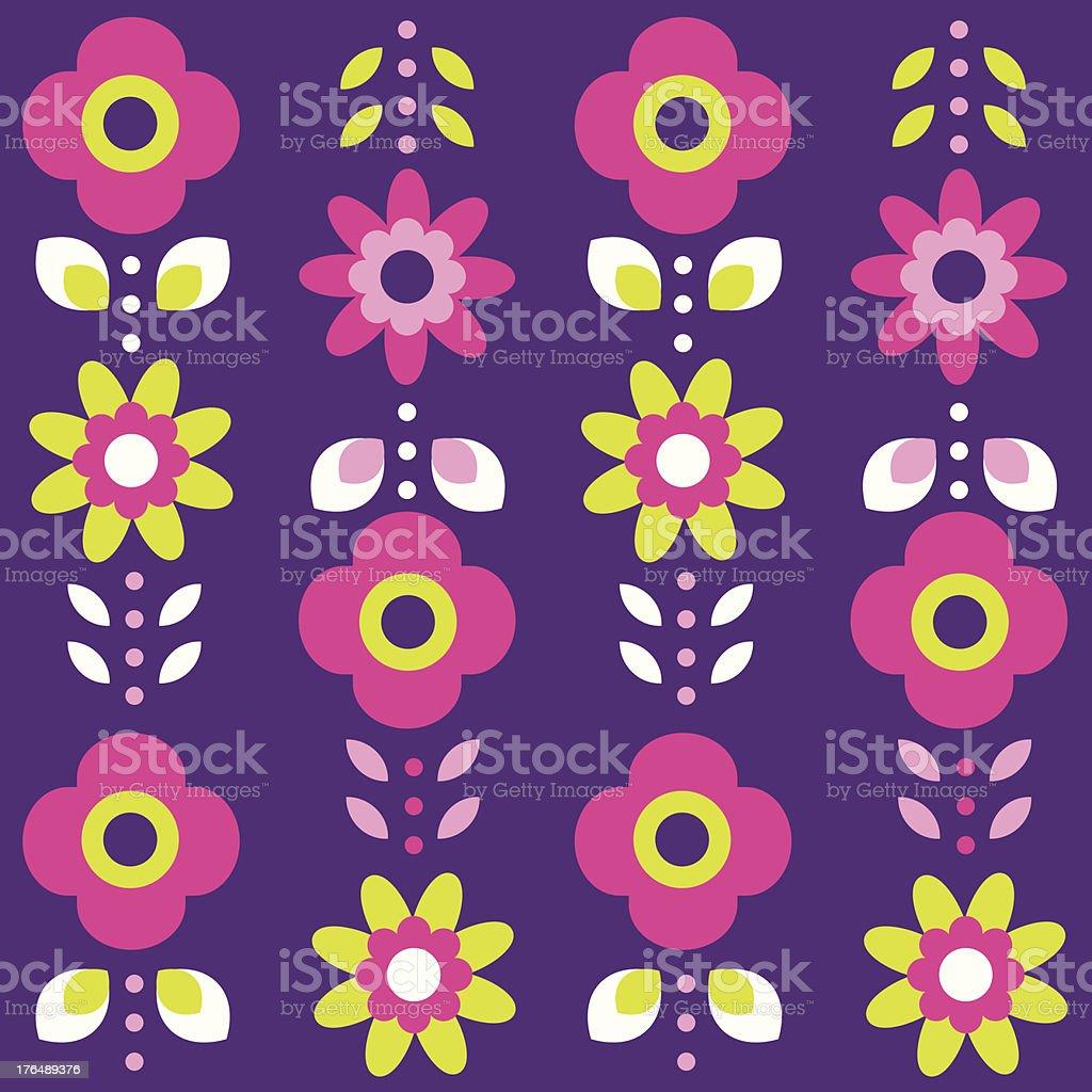 Retro summer flowers pattern royalty-free stock vector art