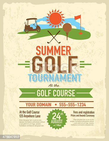 Vector illustration of summer golf tournament invitation layout or poster advertisement design template. Green, cheerful retro revival colors.  Includes sample text design elements and golf green, golf course and golf cart background. Perfect for golf outing, tournament, golf course advertisement poster and charity sporting event. See my portfolio for other invitations and golf concepts.
