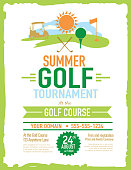 Vector illustration of summer golf tournament invitation layout or poster advertisement design template. Green, cheerful color palette. Includes sample text design elements and golf green, golf course and golf cart background. Perfect for golf outing, tournament, golf course advertisement poster and charity sporting event. See my portfolio for other invitations and golf concepts.
