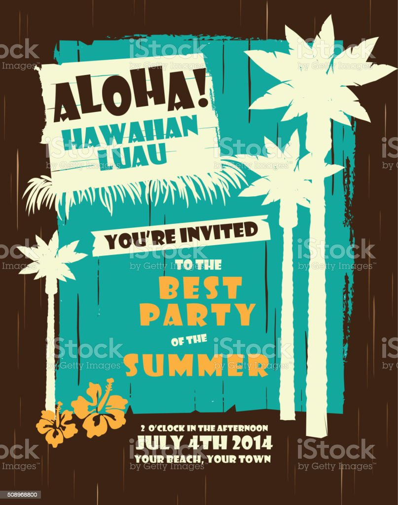 Retro Summer Hawaiian Luau Party Design Template Stock Illustration
