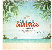 Tropical summer vacation retro background with tranquil sea, white sand beach, islands, palm trees, palm leaves,sail boat and text.File is layered with global colors.Only gradients and blur(clouds) used.Hi res jpeg without text included.More works like this linked below.