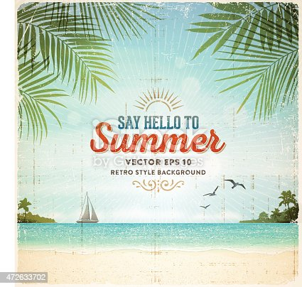 istock Retro Summer Holiday Poster Background 472633702