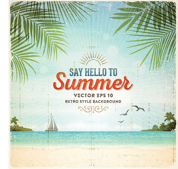 Retro Summer Holiday Poster Background vector art illustration