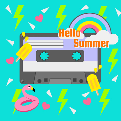 Retro summer party cassette on green background with pink heart and neon green thunder icon