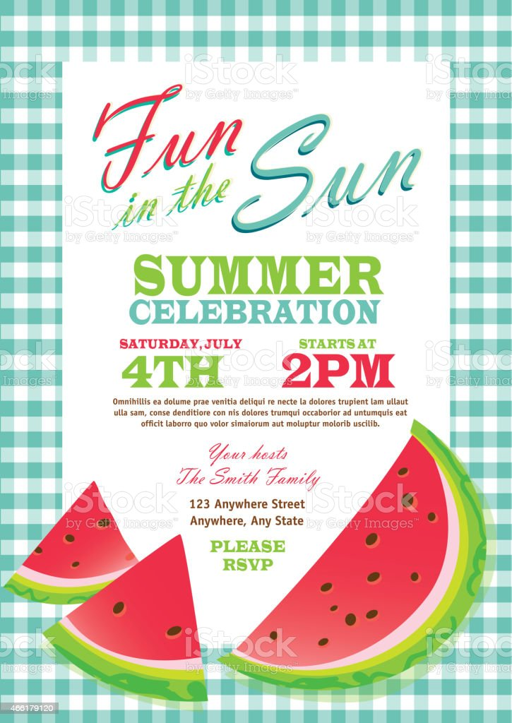 Retro summer party template invitation design checkered turquoise tablecloth vector art illustration