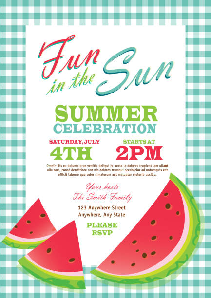 retro summer party template invitation design checkered turquoise tablecloth - picnic stock illustrations, clip art, cartoons, & icons