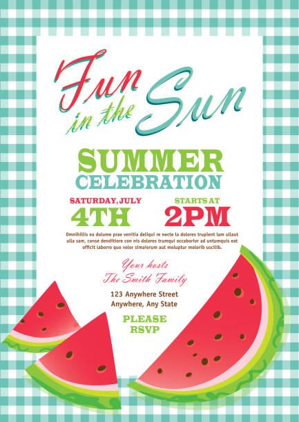 ilustraciones, imágenes clip art, dibujos animados e iconos de stock de retro plantilla de diseño de fiesta de verano invitación de cuadros manteles color turquesa - picnic