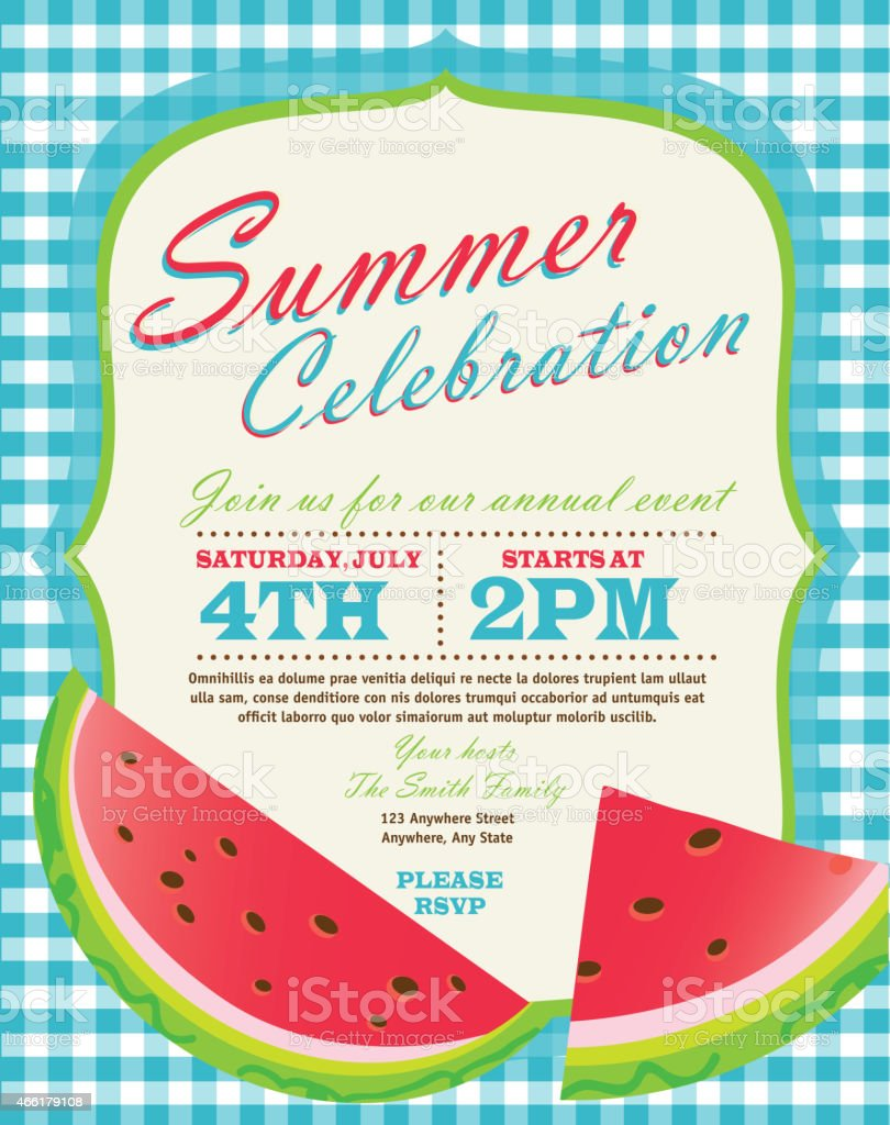 retro summer party template invitation design with watermelon stock