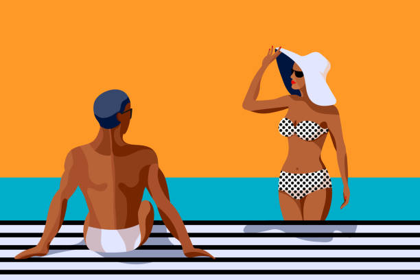 ilustrações de stock, clip art, desenhos animados e ícones de retro summer poster with a handsome man and beautiful woman talking and sunbathing. vintage banner with a happy couple. great banner for beach party, hotel vacation ads. summer background. - tronco nu