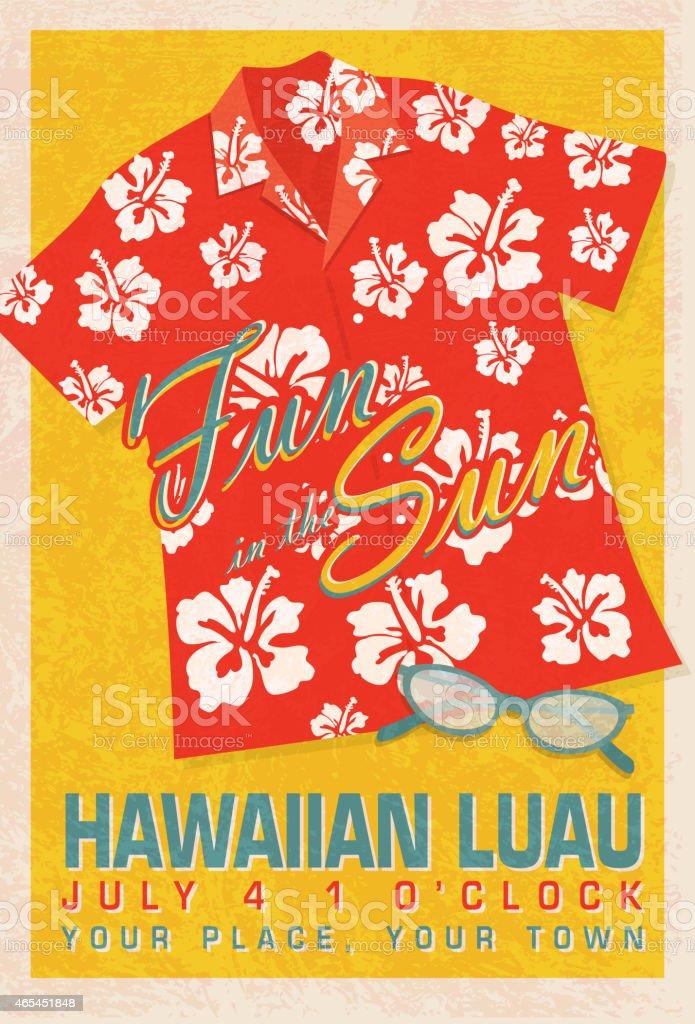 Retro summer red orange hawaiian luau shirt invitation poster design retro summer red orange hawaiian luau shirt invitation poster design royalty free retro summer red stopboris Gallery