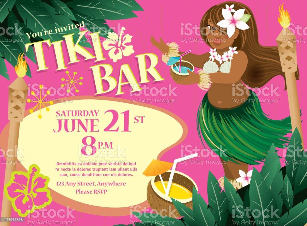 Retro Summer Tiki Bar Hawaiian party invitation design Hula Dancer vector art illustration