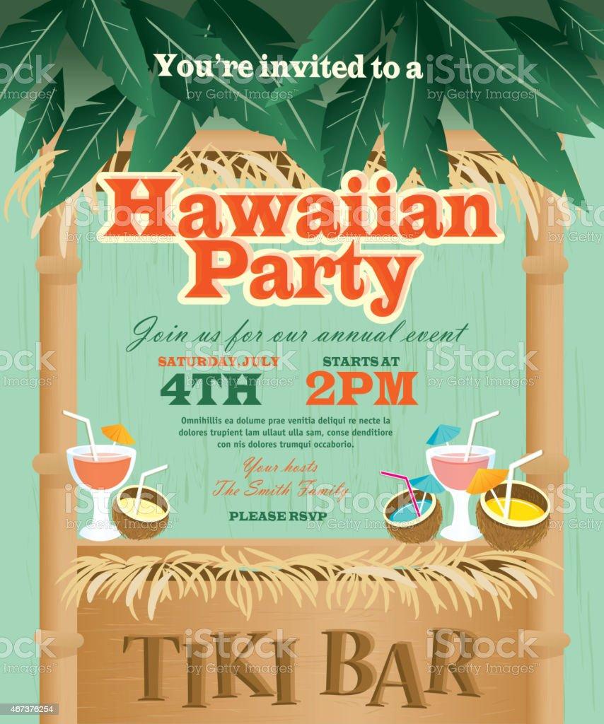 Retro Summer Tiki Bar Hawaiian party invitation design template vector art illustration