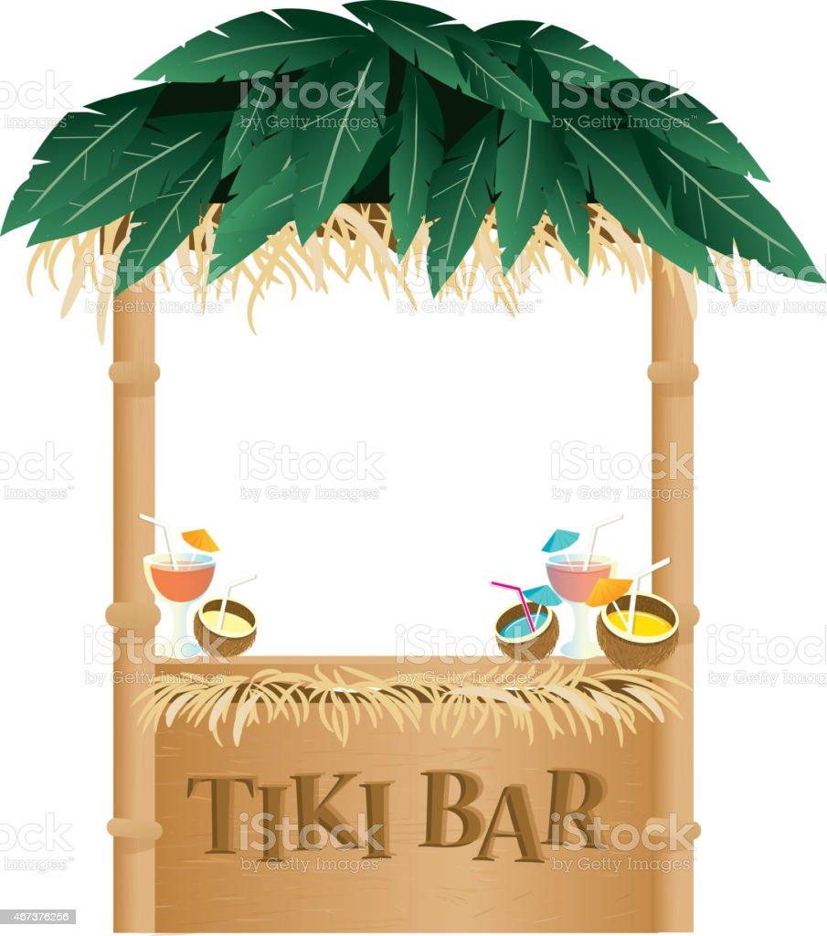 Retro Summer Tiki Bar on white background vector art illustration