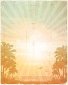 Retro Summer Tropical Beach Poster Background