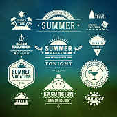 Retro summer vector design elements.