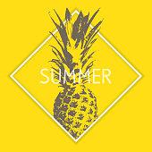 Summer vector, retro concept design, exotic summer fruit, pineapple silhouette