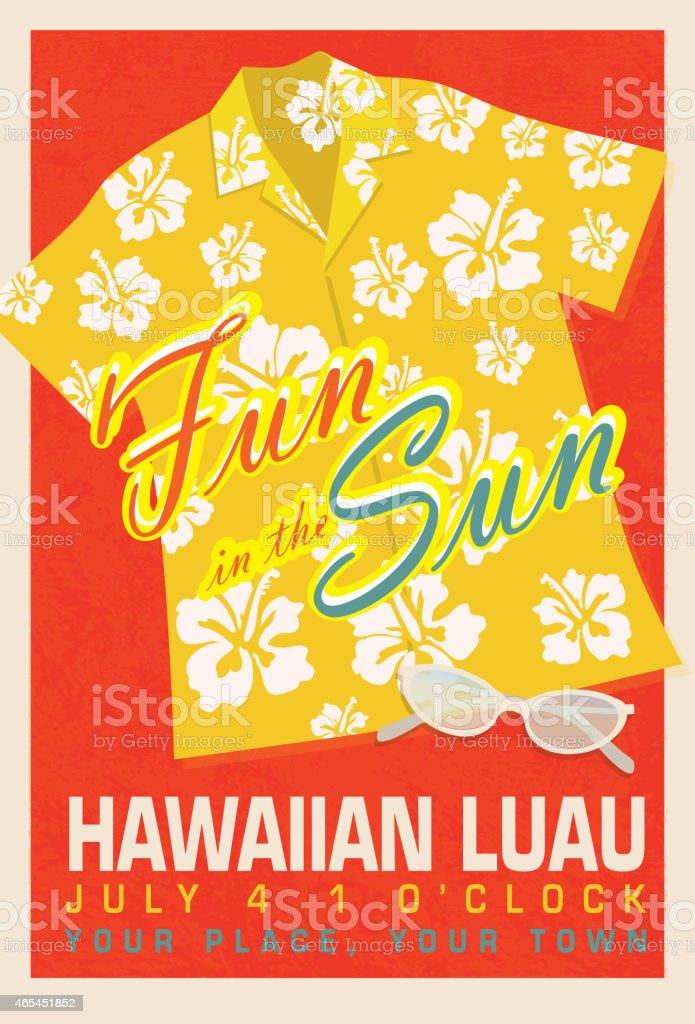 Retro summer yellow hawaiian luau shirt invitation poster design retro summer yellow hawaiian luau shirt invitation poster design template royalty free retro summer yellow stopboris Gallery