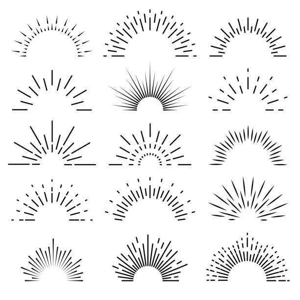 stockillustraties, clipart, cartoons en iconen met retro zonnestraal. zonsopgang stralen licht burst line shine sunshine sunbeam vintage grens vonk vuurwerk starburst banner vector geïsoleerd - springen