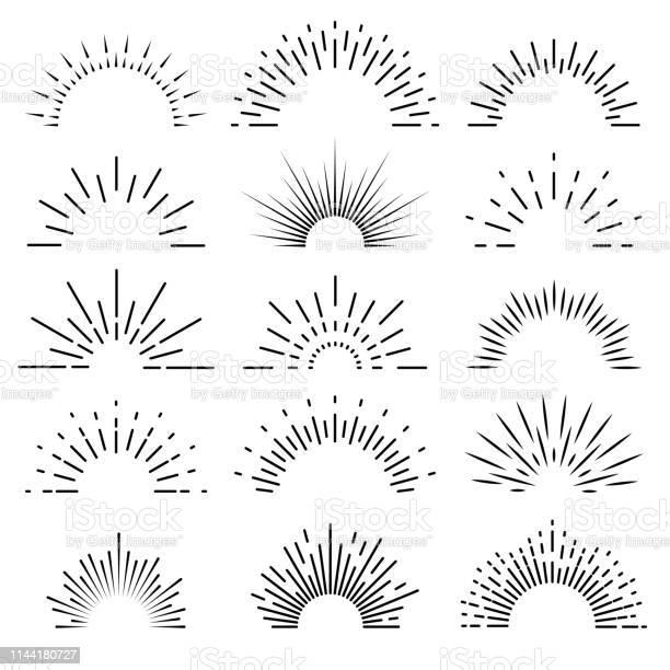 Retro Sunburst Sunrise Strålar Ljus Burst Linje Lysa Solsken Solstråle Vintage Gränsen Gnista Fyrverkande Banner Vektor Isolerad-vektorgrafik och fler bilder på Antända