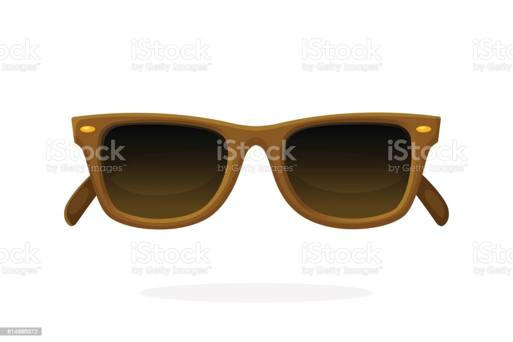 Retro sunglasses with brown horn-rimmed frames vector art illustration