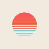 Retro sunset above the sea or ocean with sun and water silhouette. Vintage styled summer logo or icon design isolated on white background. Vector eps 10 illustration.