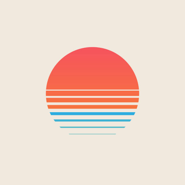 Retro sunset above the sea or ocean with sun and water silhouette. Vintage styled summer logo or icon design isolated on white background. Vector illustration. Retro sunset above the sea or ocean with sun and water silhouette. Vintage styled summer logo or icon design isolated on white background. Vector eps 10 illustration. early 20th century stock illustrations