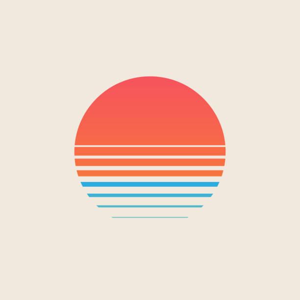 ilustrações, clipart, desenhos animados e ícones de pôr do sol retrô acima do mar ou oceano com sol e silhueta de água. logotipo de verão estilo vintage ou design de ícone isolado em fundo branco. ilustração vetorial. - pôr do sol