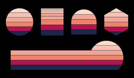 Retro sunset set with different shapes. Vintage sunset collection 70s 80s style.