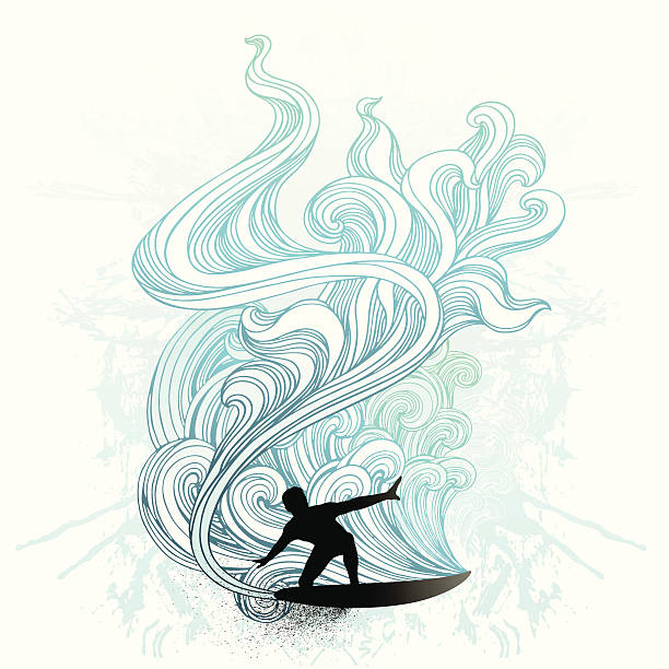 Retro surf vector art illustration