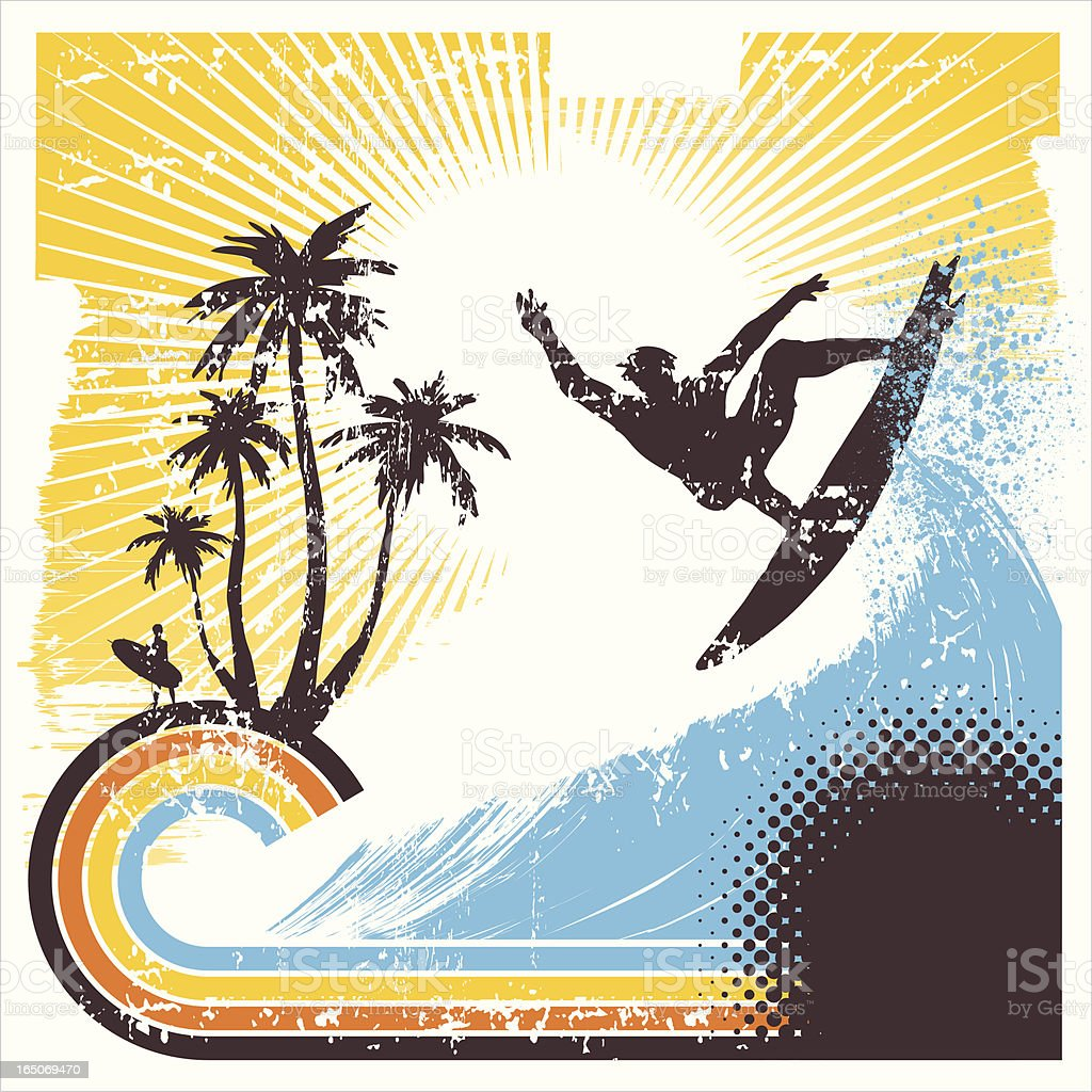 Retro Surfer in Action royalty-free stock vector art