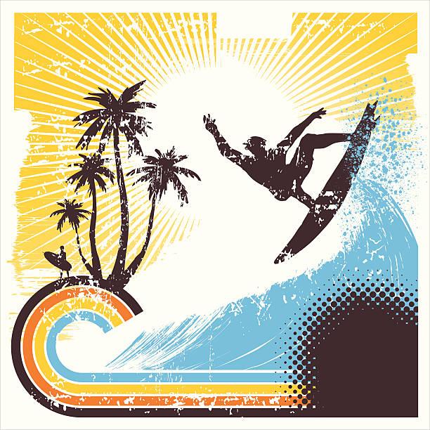 ilustrações de stock, clip art, desenhos animados e ícones de retro surfista em acção - viagens anos 70