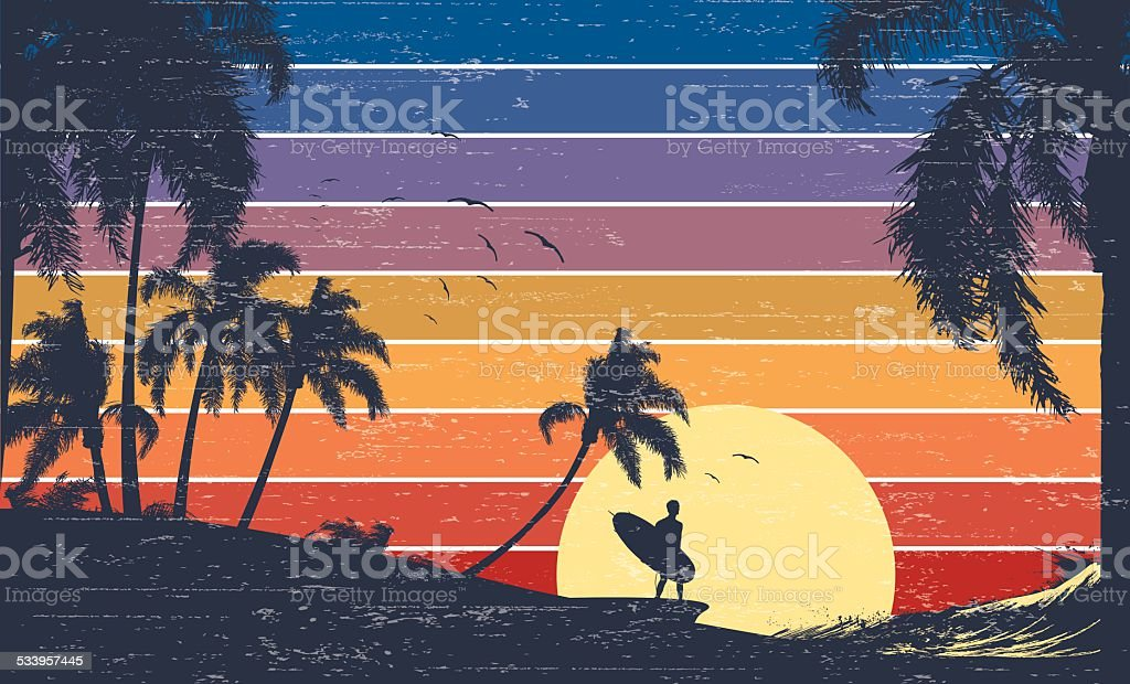 Retro Surfer Sunset vector art illustration