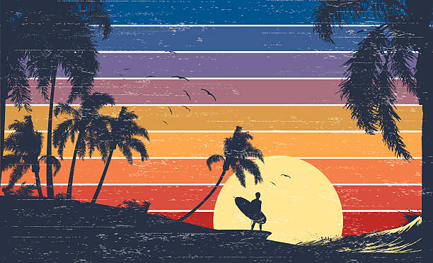 Retro Surfer Sunset Surfer walking at sunset. surf stock illustrations