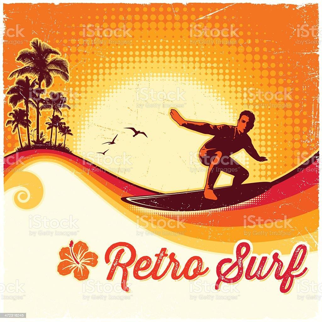 Retro Surfing Background vector art illustration