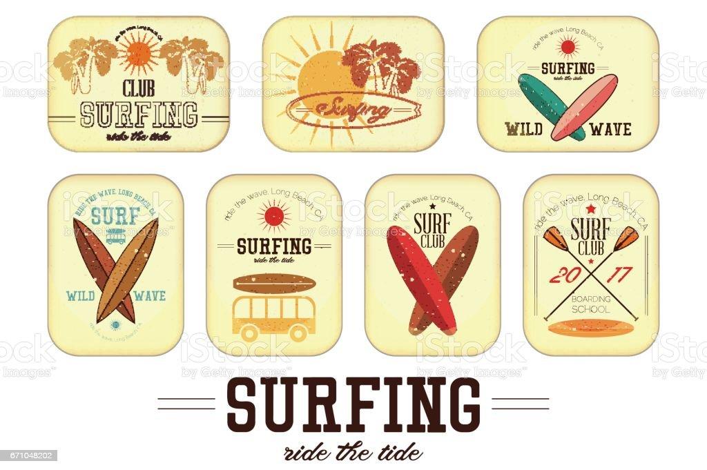 Retro Surfing Labels vector art illustration