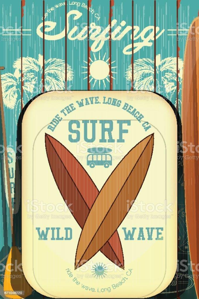 Retro Surfing Poster vector art illustration