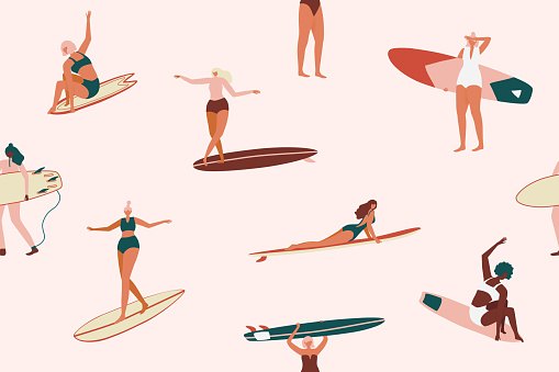 Retro Surfing seamless pattern in vector. Surf girls character in swimsuit with a shortboard and Longboard seamless pattern. Summer design for fabric, wallpaper, packaging paper, backgrounds and decor.