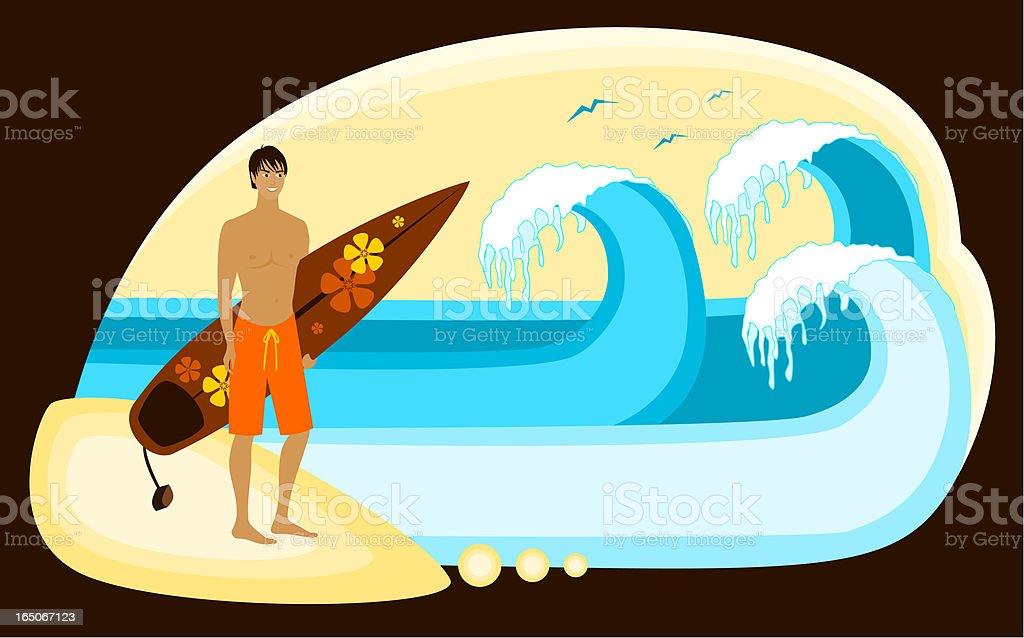 Retro Surfing royalty-free stock vector art