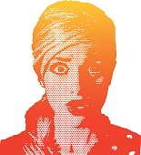 Pop Art style retro woman with surprised expression.