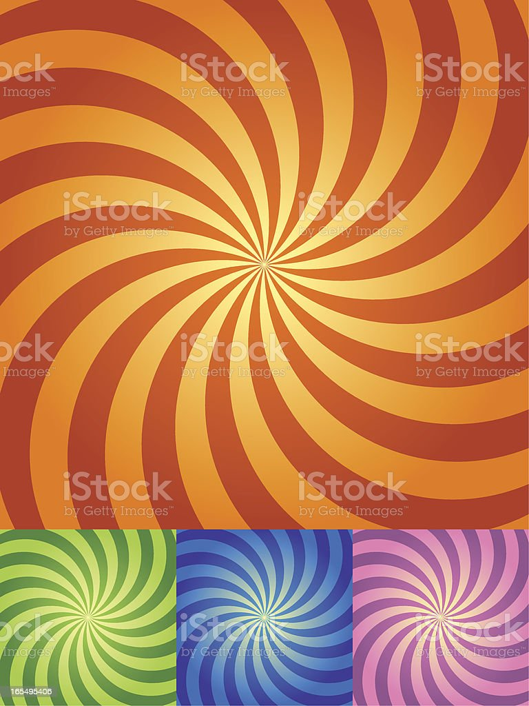 Retro Swirl Background in four color sets royalty-free stock vector art