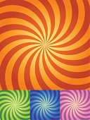 Retro Swirl Background in four color sets