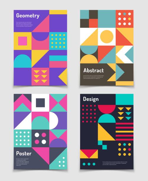 retro-schweizer grafische plakate mit geometrischen bauhaus formen. vektor abstrakt im alten stil der moderne. vintage zeitschrift behandelt - bauhaus stock-grafiken, -clipart, -cartoons und -symbole
