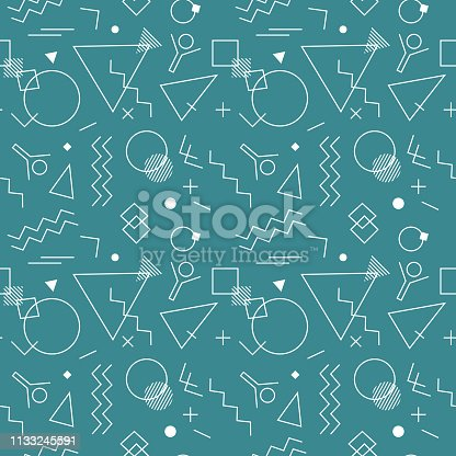 Retro Swiss style seamless pattern. Flat geometric creative isolated vector pattern. Bright decorative print design element. Abstract graphic retro minimalistic style texture background template