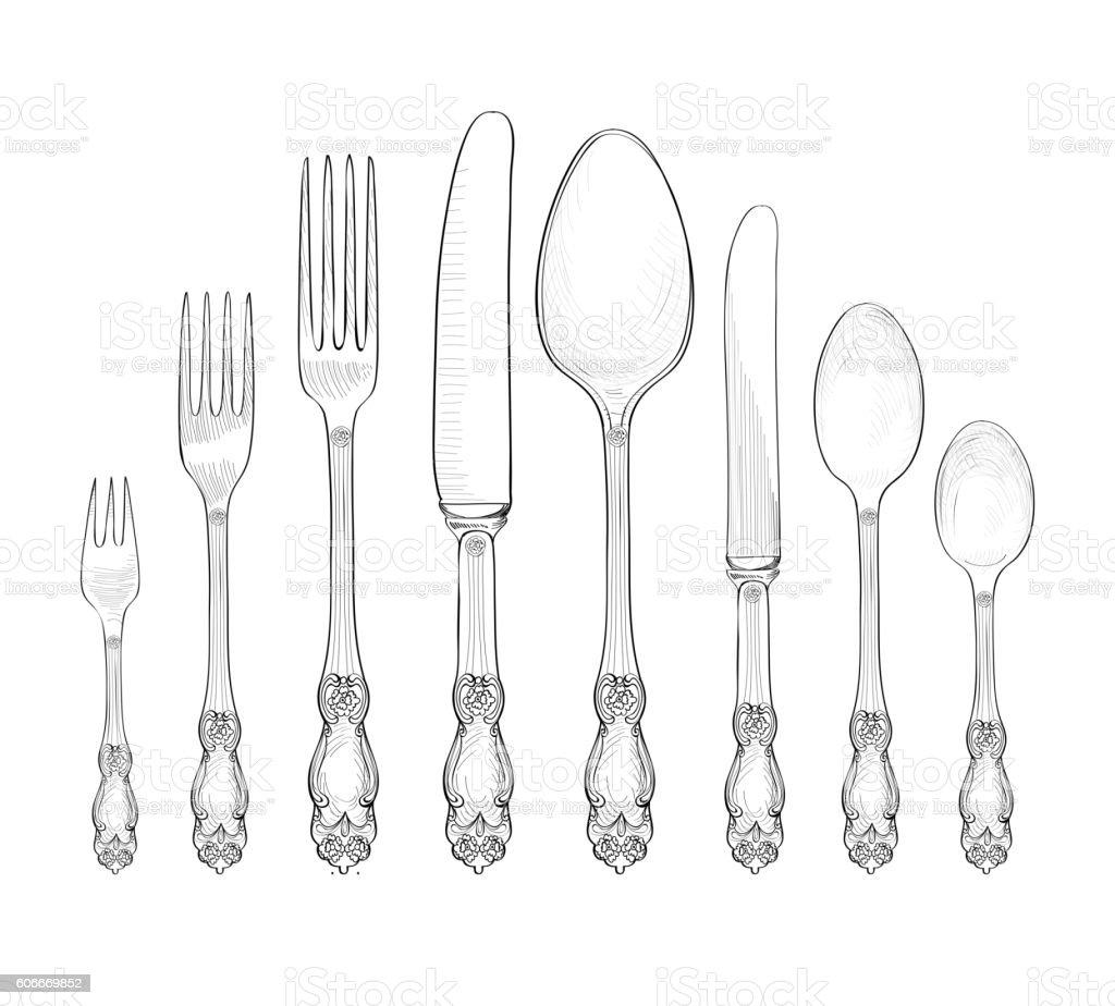Retro Table Setting Silverwear Fork Knife Spoon Cutlery Still Life ...