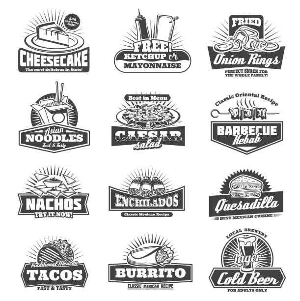 retro takeaway fastfood vector monochrome icons - taco stock illustrations, clip art, cartoons, & icons