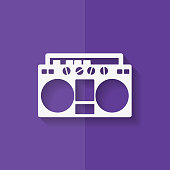 Retro tape recorder, hipster style. Flat design.