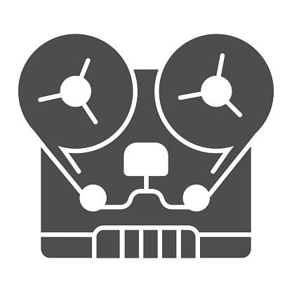 Retro tape recorder solid icon, Sound design concept, portable recording studio sign on white background, retro reel-to-reel audio recorder icon in glyph style for mobile. Vector graphics.